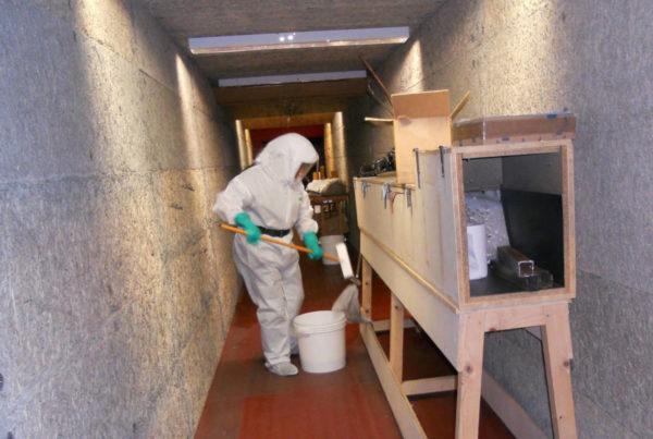 CURIUM décontamine régulièrement les stands de tir, contaminés au plomb